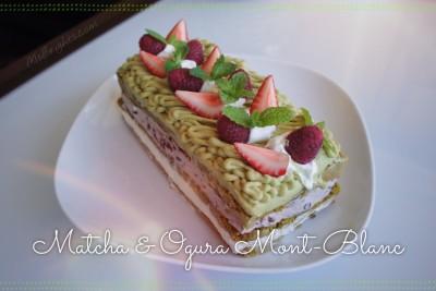 Matcha Mont Blanc & Ogura cream square cake